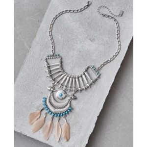 AEO FEATHER & TURQUOISE NECKLACE